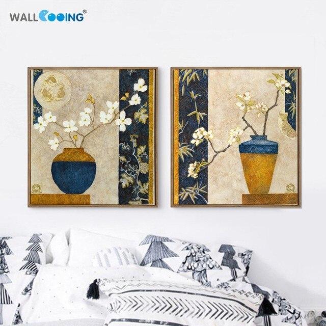 2017 nouveau jaune classique art fleurs en pot design mur peinture