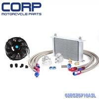 25 Row AN-10AN Universal Engine Oil Cooler Kit+Filter Adapter Kit+Universal Fan