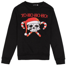 Adult Men Women Couples Santa Joker Costume Ladies Black Sweater Skull Pattern X-mas Funny Character Pullover Sweat For Young