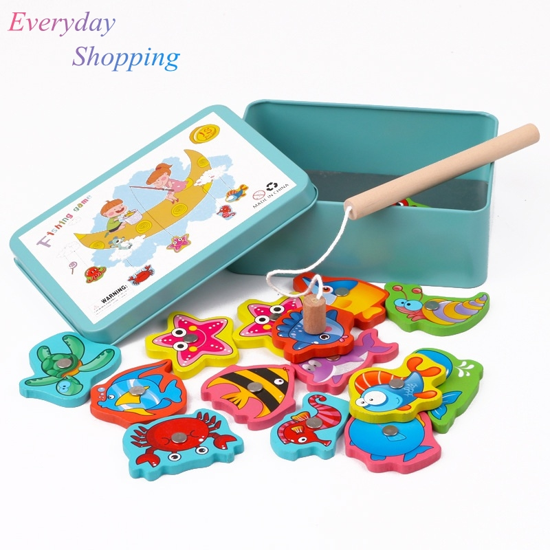 Baby Educational Toy For Children  Iron Box Fishing Wooden Game Set Novelty Toys Boy Girl Cognition Magnetic Toys Set Kids GiftsBaby Educational Toy For Children  Iron Box Fishing Wooden Game Set Novelty Toys Boy Girl Cognition Magnetic Toys Set Kids Gifts