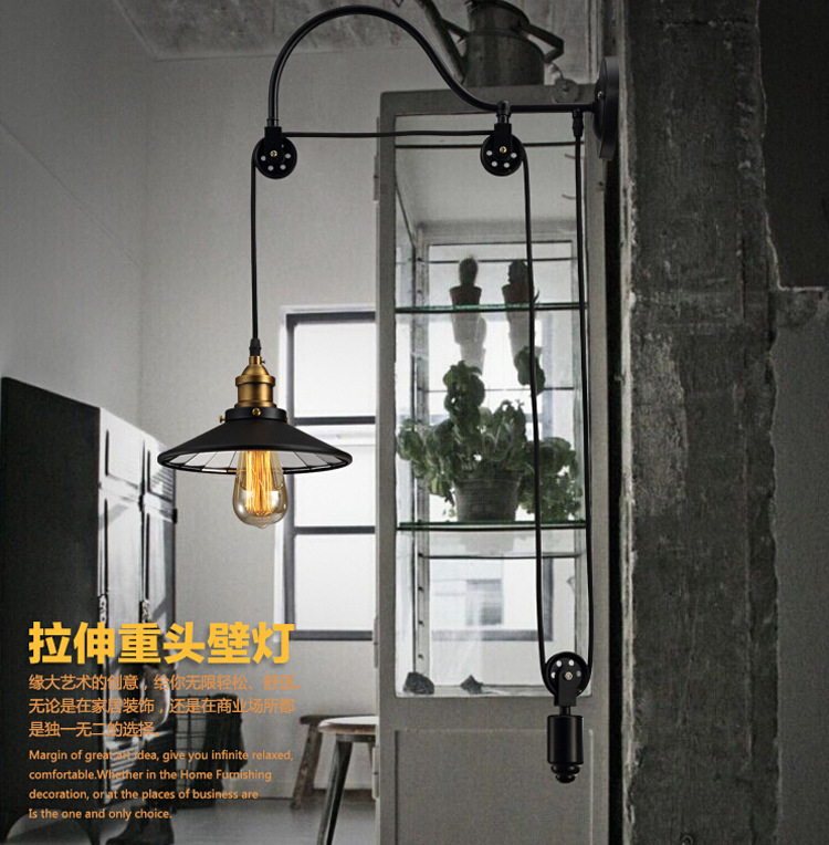 loft retro American iron pulley wall lamp antique lifting dining room bedroom Wall Lights Lamparas Home Lighting Fixture american iron wall lamp white black fabric lampshade wall sconces fixture stairway living room hallway bedroom wall light wl281