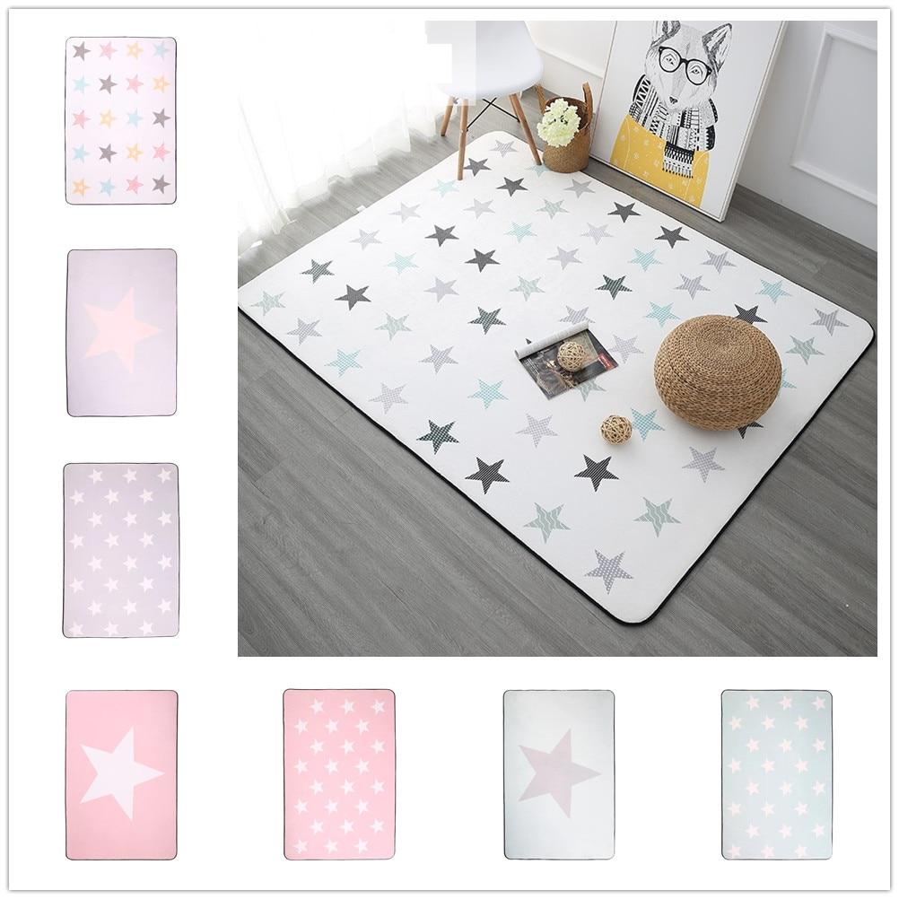 Korean Design Star Printed Carpet Anti-Slip Floor Rug Bath Mat Soft Baby Playing Carpets For Living Room Indoor Bedroom Rug