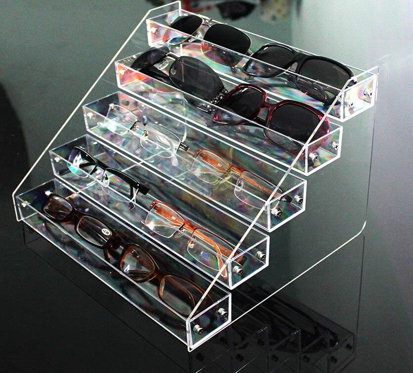 5 Tier Clear Acrylic Sunglasses Retail Display Rack Nail