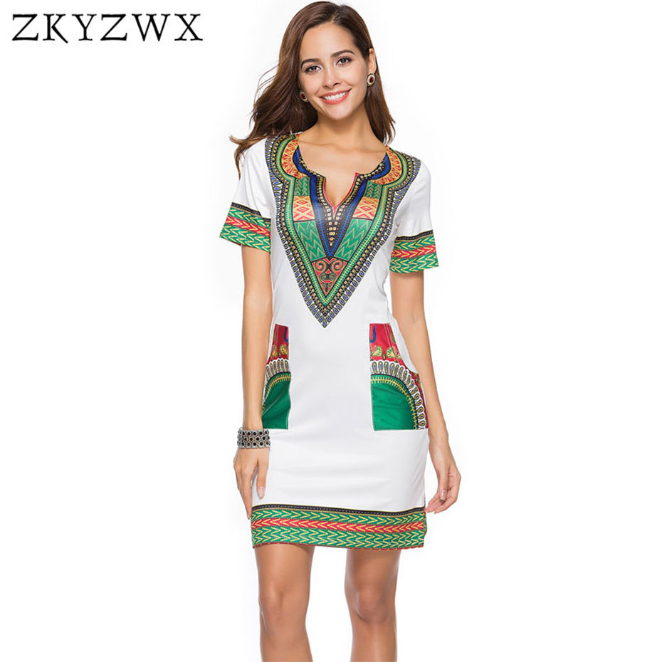 1b9c260fe8add ZKYZWX Vintage Dress Plus Size Women Clothing Casual Vestidos Summer Boho  Beach Dresses 2018 African Print Robe Dashiki Dress-in Dresses from Women's  ...