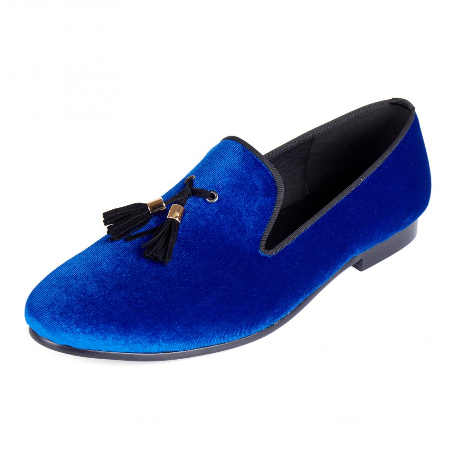 Harpelunde Herrskor Casual Blue Velvet Loafers Skor Tassel Flats Gratis frakt Storlek 6-14