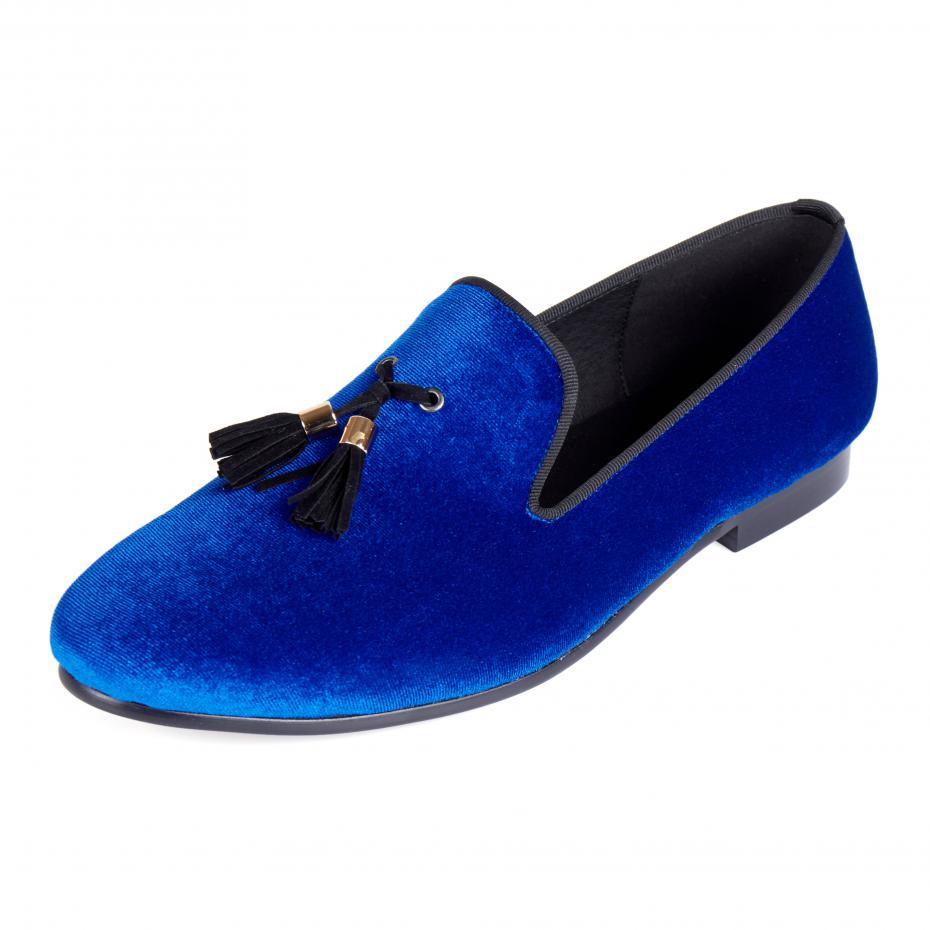 Harpelunde Mens Chaussures Casual Bleu Velours Mocassins Chaussures Gland Appartements Livraison Gratuite Taille 6-14