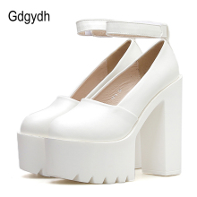 Gdgydh Spring Autumn Platform Shoes Woman Heels Rubber Sole Black Withe Women Pumps Ladies Wedding Drop Shipping