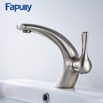 Fapully Brass Basin Faucet Brushed Nickel Bathroom Vanity Vessel Hot Cold Tap Water Mixers