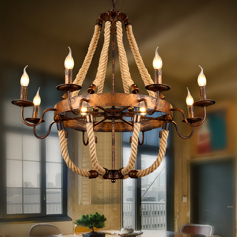 Countryside retro iron Rust color Hemp rope chandelier 6/8 heads coffee/clothing shop Restaurant living room candle pendant lamp european rural bird marble hemp rope chandelier cafe restaurant corridor balcony chandelier size 33 38cm e27 ac110 240v