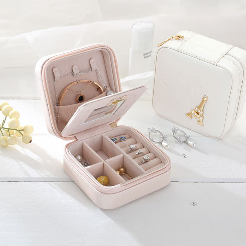 Travel jewelry organizer box cosmetic makeup organizer Jewelry packaging box earrings storage Casket Container gift bag for girl