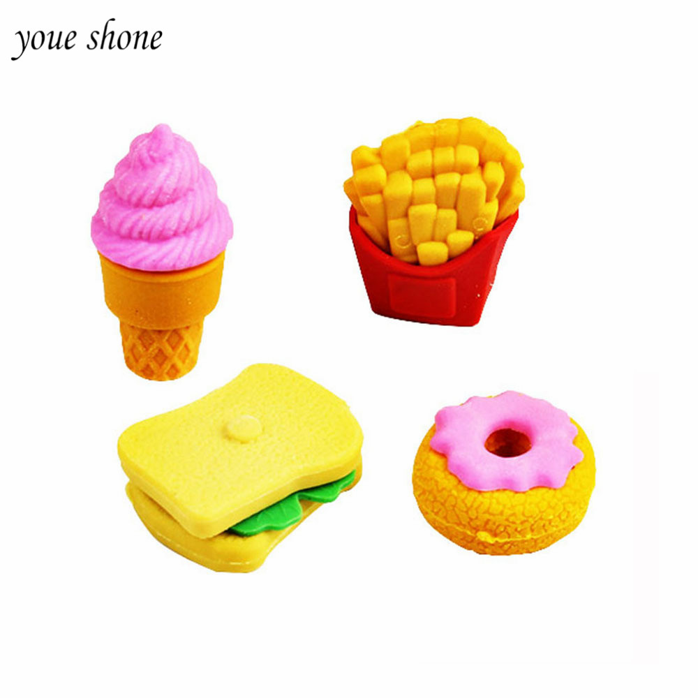 YOUE SHONE 4Pcs/Sets Rubber Pencil Erasers Cartoon Detachable Erasers For Kids Ice Cream Fries Burger Stationery Supply