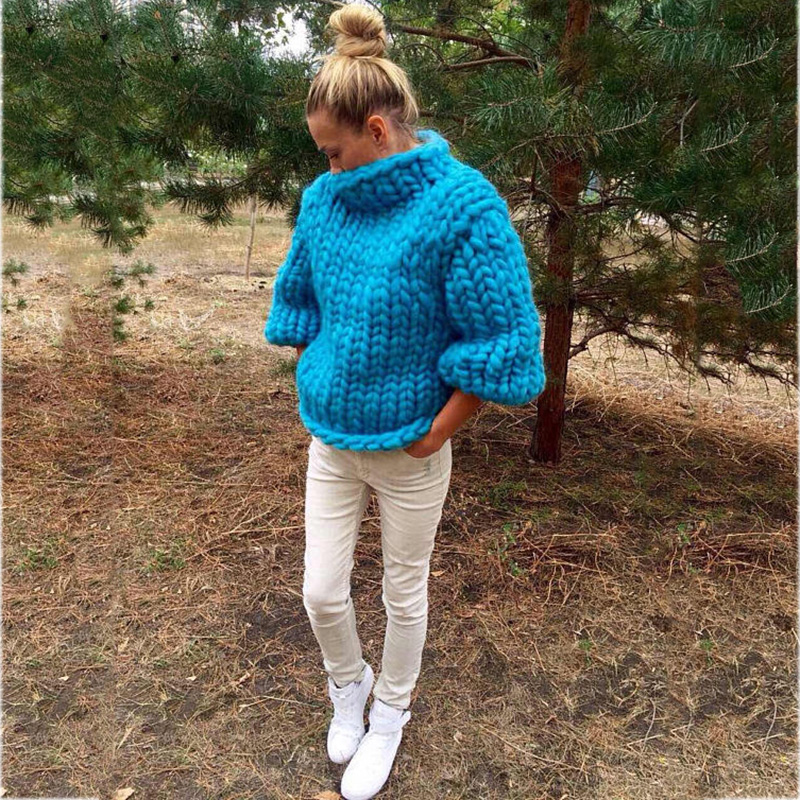 2017 Fashion design Pure Hand made Thick Sweater coat Women winter Thick coarse linesThick Warm High