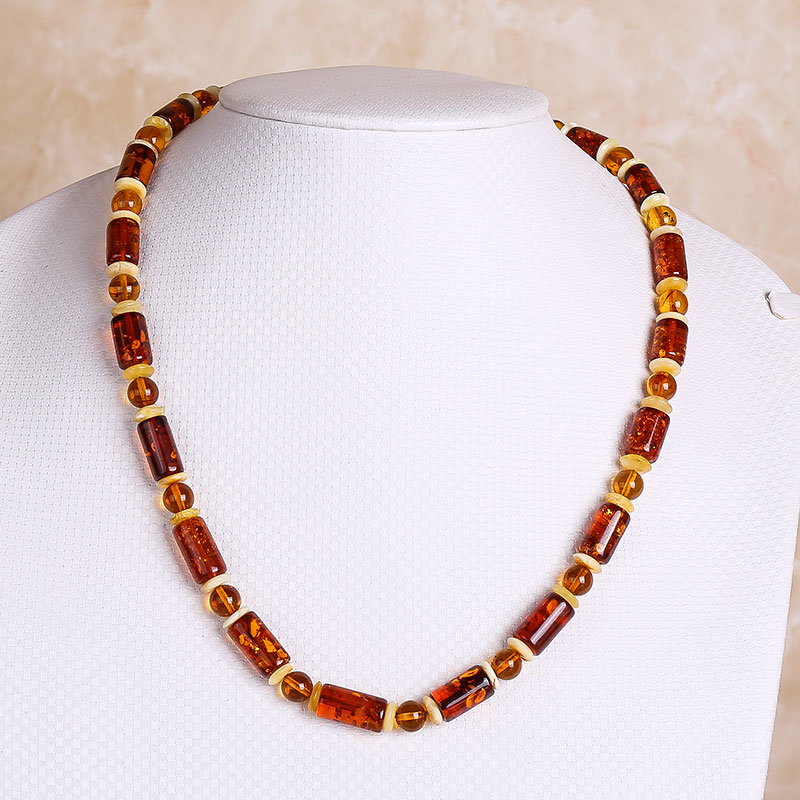JIUDUO jewelry European Import Genuine Natural Amber Necklace Cooper Fire Cooper Honey Wax Cooper Multi Po Elliptical Necklace цены онлайн
