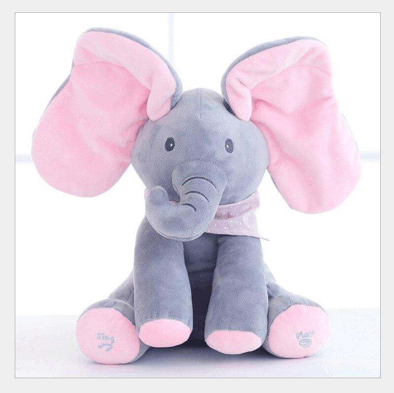 30 cm Nuovo Stile Peek a Boo Elefante Animali Farciti & Peluche Bambola Elefante Riprodurre Musica Elefante Giocattolo Educativo Per bambini