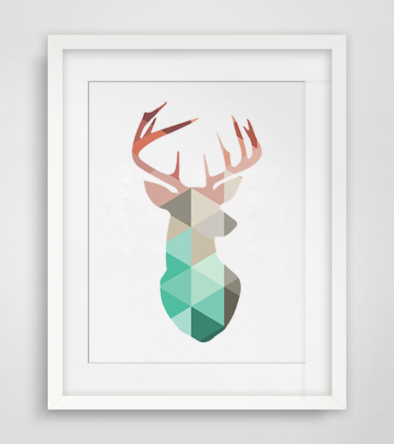 Deer Wall Art Geometric Coral Deer Head Canvas Art Print Poster, Wall  Pictures For Home