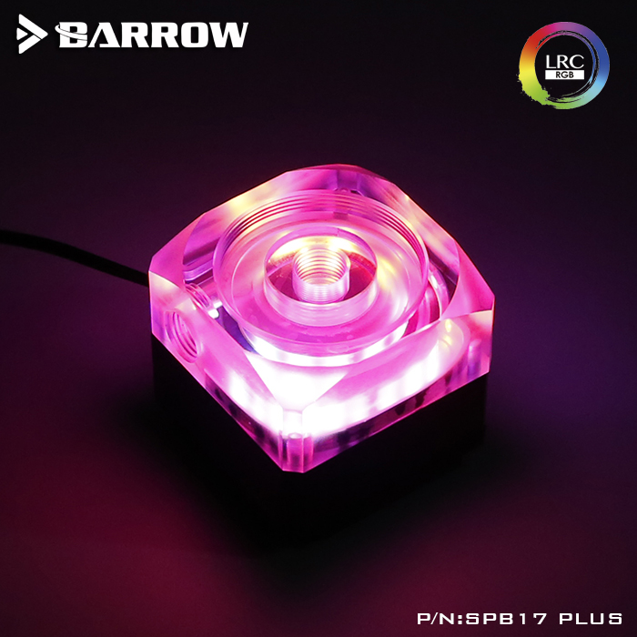 SPB17 PLUS Barrow water cooling PWM DDC expandable pc water pump refit 50mm diameter reservoir support connect mainboard barrow brass chrome plated ddc pump top cover can connect the water tank tbts20 v1 g