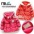 Varejo novo 2015 crianças roupas de bebê outerwear menina casaco de inverno amassado jaqueta criança de algodão acolchoado jaqueta