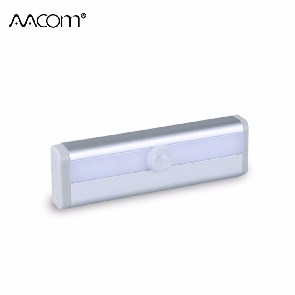 LED Luminaire With Motion Sensor 6 LEDs Night Lights AAA Battery Powered Wireless PIR Lamp For Kitchen Cabinet Wardrobe Lighting цена