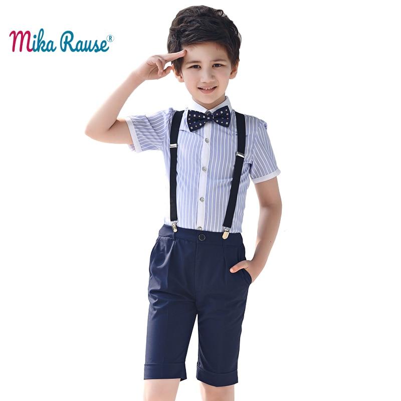 Fashion boys clothing sets(cotton striped shirt+pant)kids clothes school uniform party dress teenager summer shorts boy costume