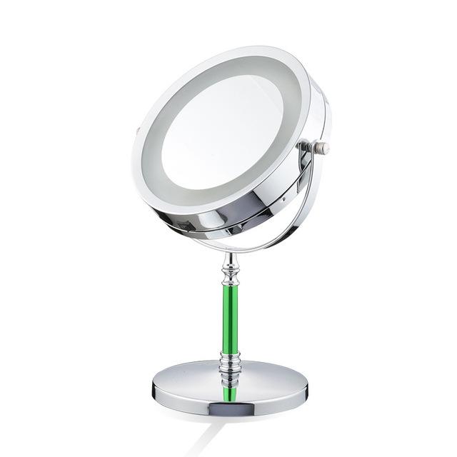 7 pulgadas espejo de aumento LLEVÓ la lámpara de escritorio Europeo de metal espejo 2-Face 3X amplificación dormitorio espejo de maquillaje