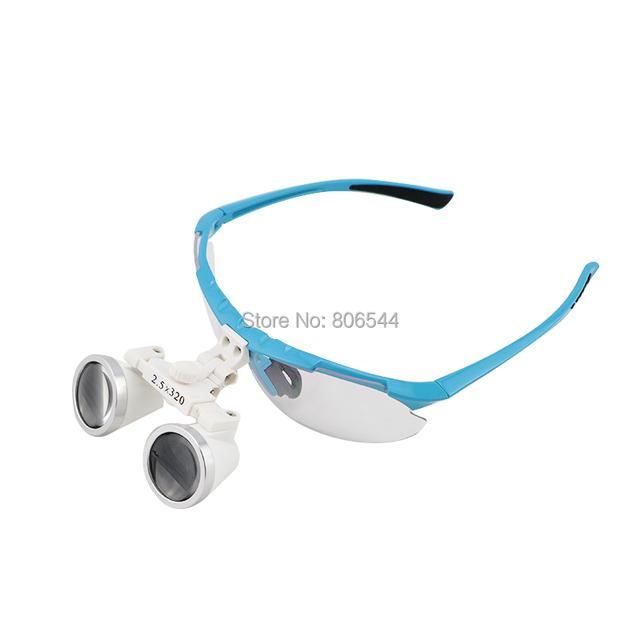 Novo azul 2.5 X Dental Cirúrgica Lupas Binoculares Dentista 320mm + LED Head Light N + F 188044-e8