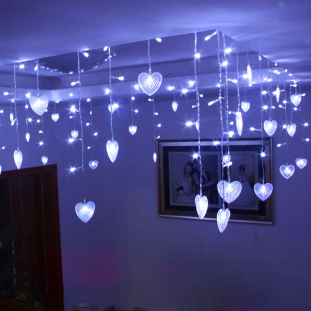 8m Fairy Heart Cortina De Led Curtain Garland Christmas Lights - Decoracion-led