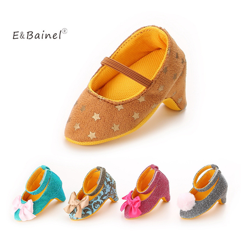 E&Bainel Fashion Sweet Baby Girls Shoes Princess First Walkers Wedding Party Big Bow High Heels Infant Toddler Newborn Footwear