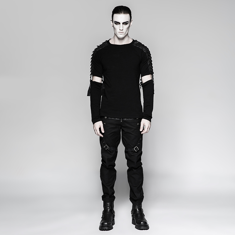 Slim Hombre Pantalones Hombres Gótico Casuales Militar De Buena Los Uniforme Punk Calidad AqR8HT1