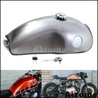 Universal Motorcycle 2.6 Gal Gas Tank Cafe Racer Fuel Tank For Honda Kawasaki Suzuki Yamaha BMW RD50 RD350 RD400 R100R XV TR
