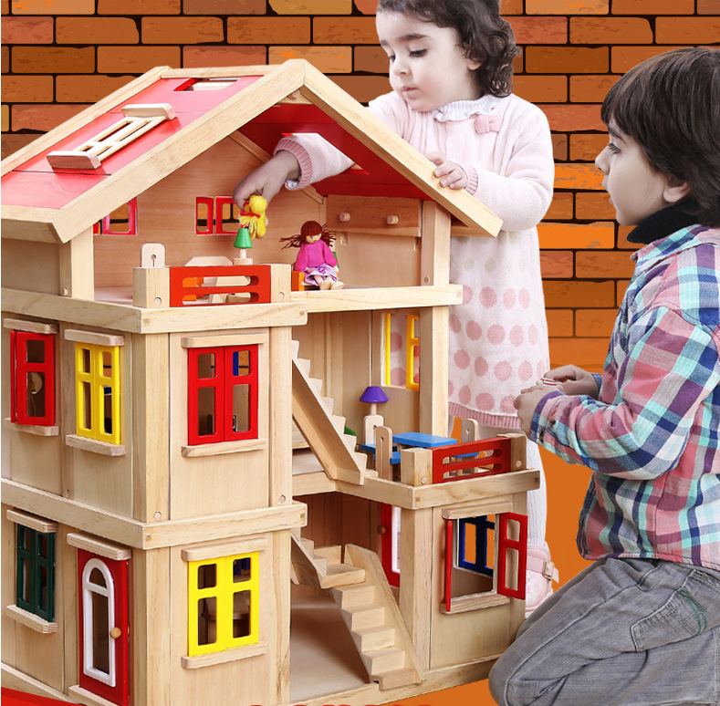 CUTE ROOM 1 Set Furniture DIY Large Doll House Wooden Miniatura Doll Houses Furniture Kit DIY Puzzle Assemble Dollhouse Toy assemble diy doll house toy wooden miniatura doll houses miniature dollhouse toys with furniture led lights birthday gift