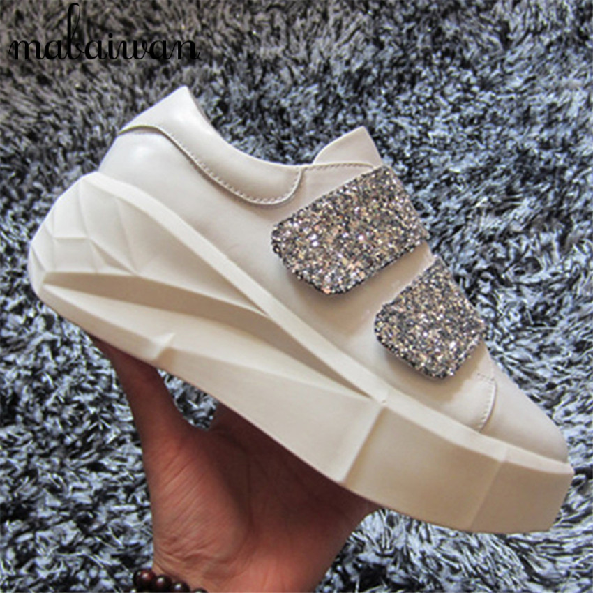 ФОТО Fashion White Women Thick Heel Casual Shoes Sequined Cloth Platform Creppers Flats Espadrilles Zapatillas Deportivas Loafers