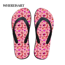WHEREISART Casual Brand Flip Flops Girls Slippers House Womens Fashion 3D Lipstick Pattern Beach Summer Female Flats