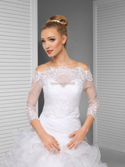 Vestido de noiva Marfim/White Lace Over-top Bolero Shrug Jaqueta de Casamento