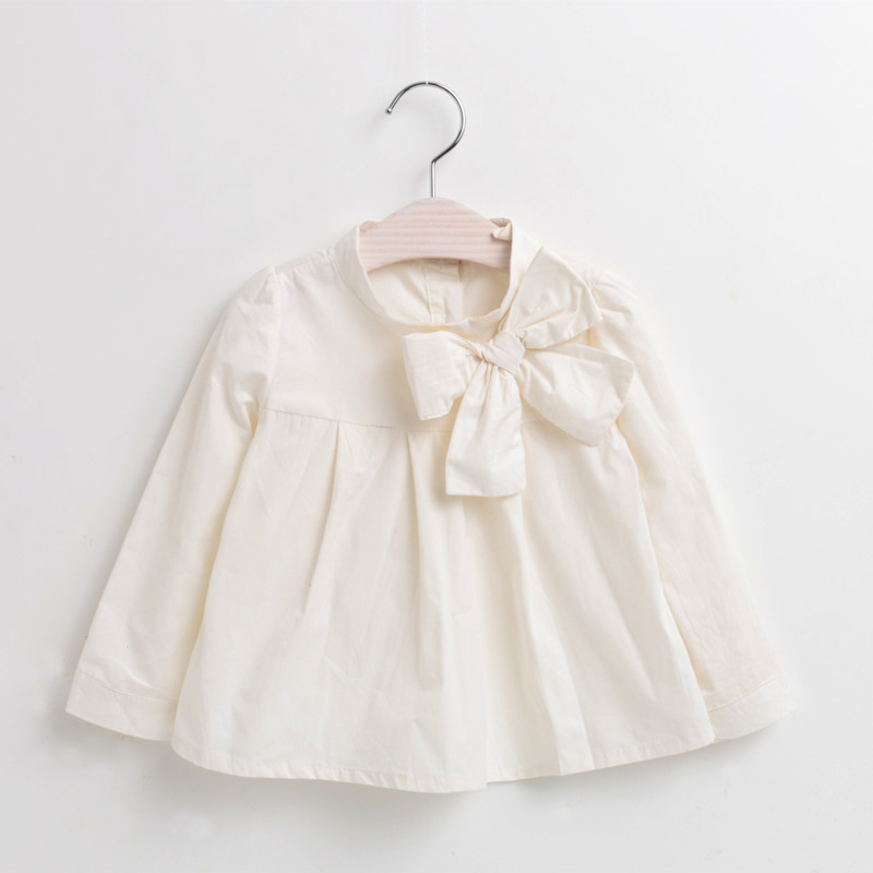 2016 New Spring Children Kids Bow Doll Shirt Girls Long Sleeves White Shirts Cotton Blouses For Child Girl Tops Clothes Blouses