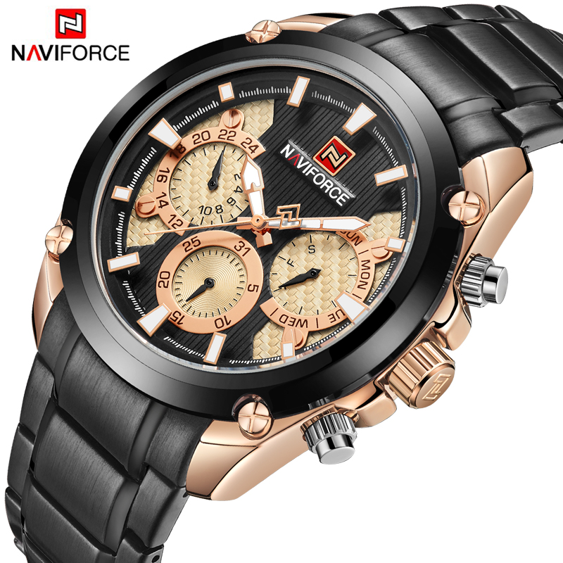 NAVIFORCE Luxury Brand Mens Sport Watch Gold Full Steel Quartz Watches Men Date Waterproof Military Clock Man Relogio Masculino цена и фото
