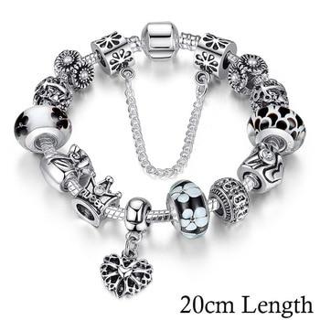 Women's Crown Silver Charm Bracelet Bracelets Jewelry Women Jewelry Metal Color: Black 20cm PA1865