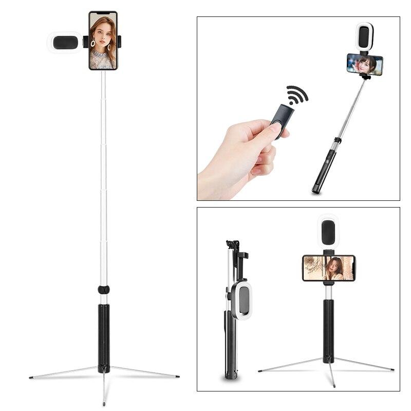 66 pouces Extensible Selfie pour Vlog Vivant Diffusion Verticale Tir Selfie Bâton Trépied avec led éclairage vidéo Sans Fil À Distance
