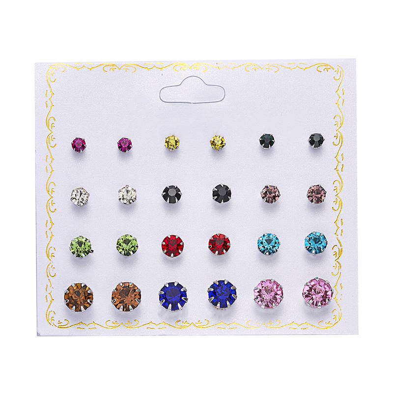 12 Pairs/set Crystal Simulated Pearl Earrings Set Women Jewelry Piercing Ball Stud Earring Kit Bijouteria Brincos Best Relieving Heat And Sunstroke Earrings Stud Earrings