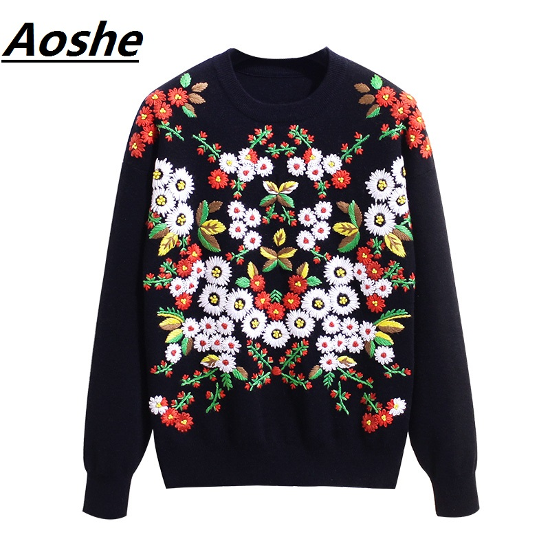 Luxury Daisy Embroidery Sweater Women 2018 Winter Vintage Knit Oversized Pullover Jumper Sweaters Tops pull femme