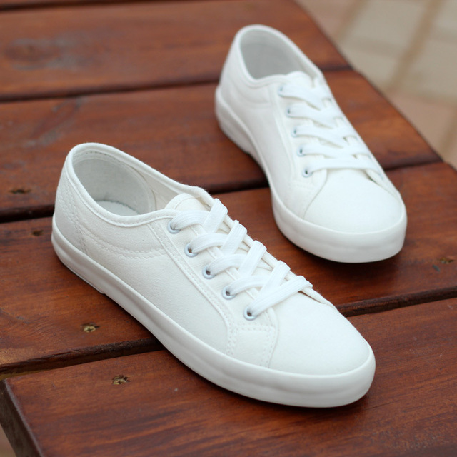 promo code 43043 20ca0 Plain all-match lacing low flat shoes white shoes female canvas shoes