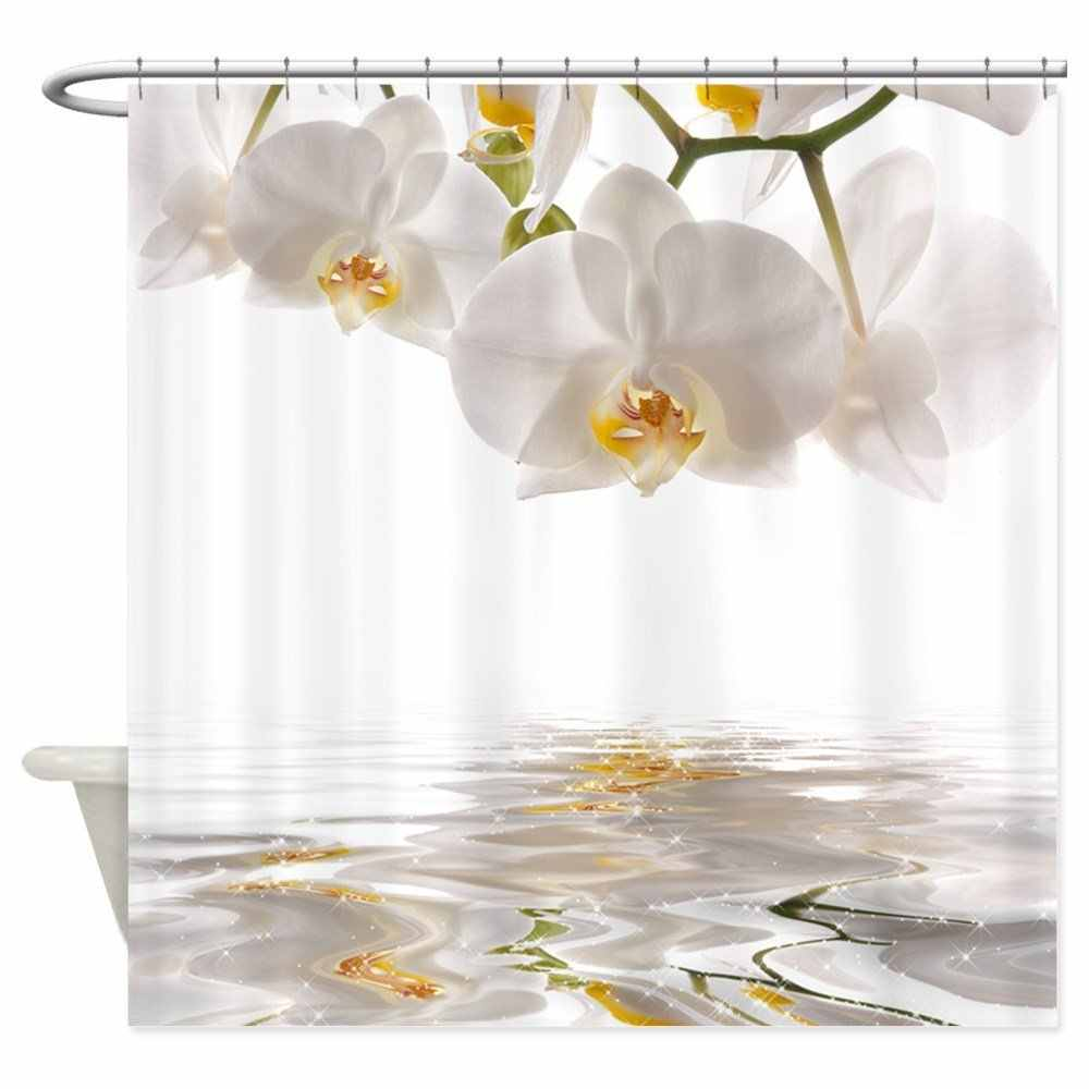 White Orchids Shower Curtain Mat Decorative Waterproof Polyester Fabric Bathroom Curtain Set Home Bath Decor