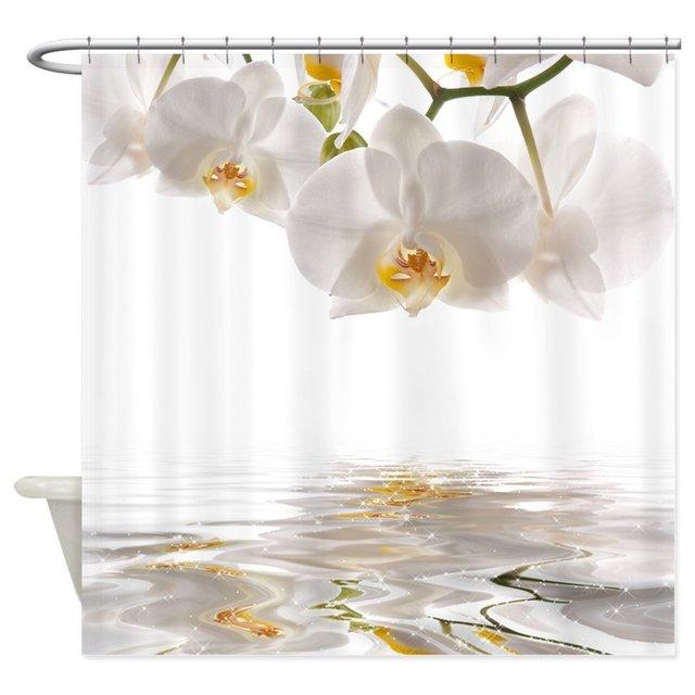 Bianco Orchidee Tenda Della Doccia Zerbino Decorativo Impermeabile Tessuto In Po