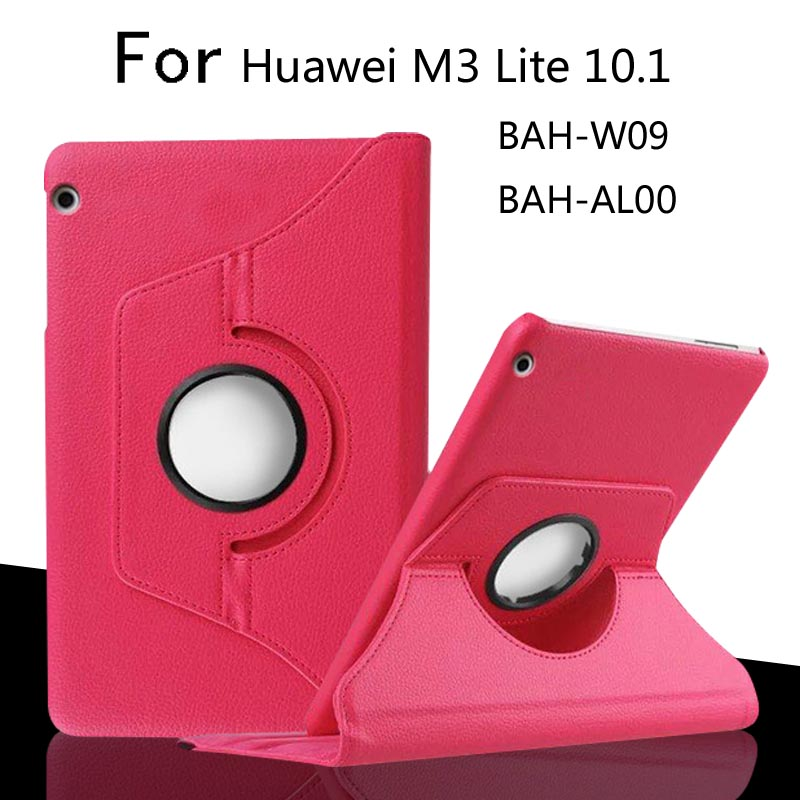 For Huawei MediaPad M3 Lite 10 BAH-W09/AL00 10.1 inch Tablet Case 360 Degree Rotating PU Leather Screen Protector Cover + Film for huawei mediapad m3 lite 10 case silicone crystal case cover for huawei mediapad m3 lite 10 1 bah w09 bah al00 tablets cover