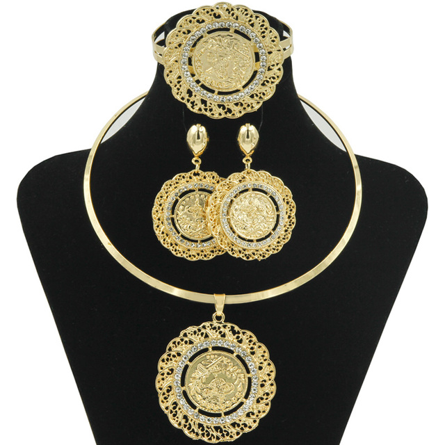 Rose store New Dubai Jewelry Hoop Necklace Jewelry Sets Gold Coin Shape  Pendant Necklace Ring Bracelet Earrings Female Jewelry-in Jewelry Sets from