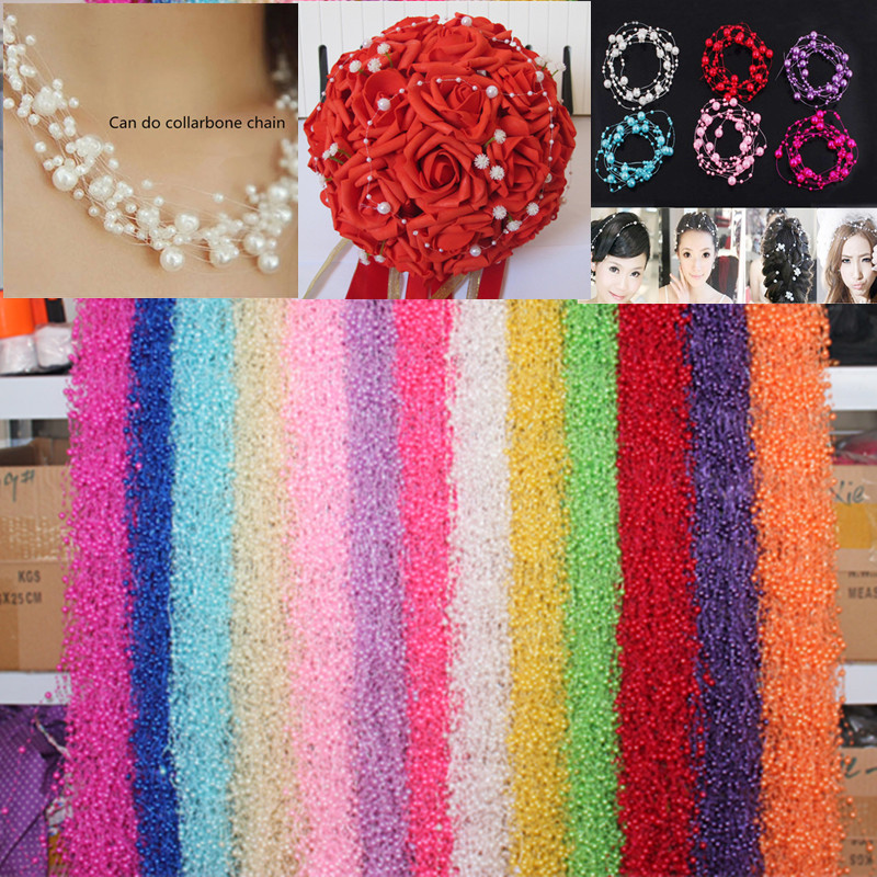 1 pcs  Tire crown hair imitation pearl beads attachment size bead 3 / 8 mm pearl materials 1.2meter long  wholesale