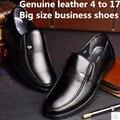 Mens nova Marca De Luxo Mais Barato Inverno dedo do pé Redondo de couro Genuíno plana com sapatos de homem de Negócios de Trabalho estilo verão tamanhos grandes (7-17)