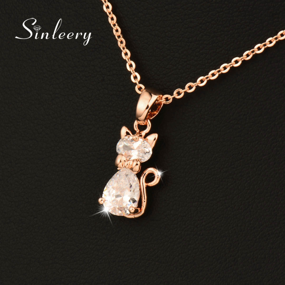 SINLEERY Charm White Cubic Zircon Cat Animal Pendant Necklace Әйелдер үшін Роза Алтын түсті тізбегі Jewelry Gifts Xl534 SSC
