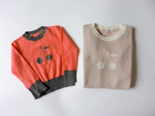 Kids Fashion Sweaters Autumn Winter Cashmere Blended Big Cherry Pattern Knitted Sweaters Girl Boy Pullover Sweater Kids Tops