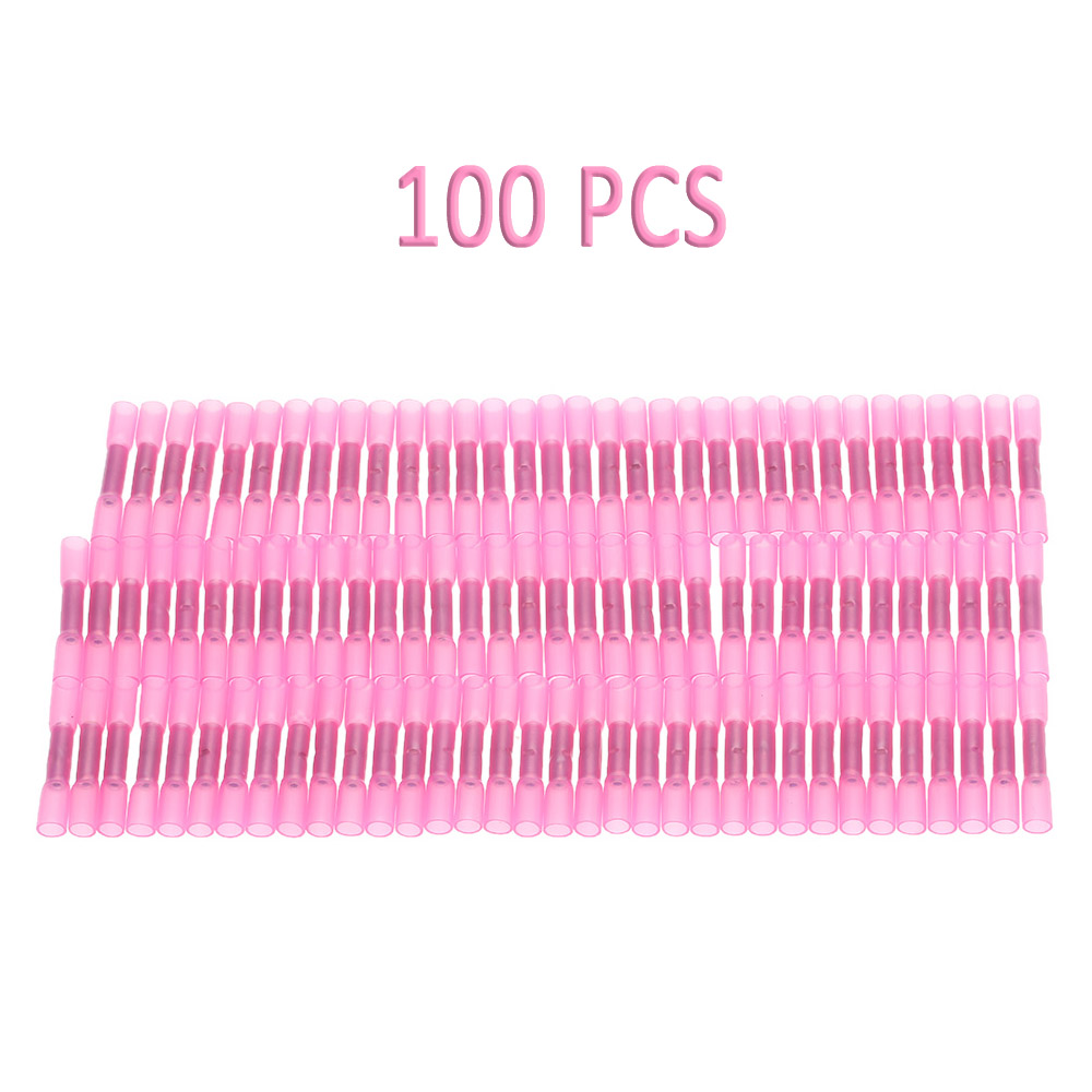 100PCS 22 - 18 AWG Car Insulated Heat Shrink Butt Connectors Waterproof Wire Electrical Crimp Terminals Connect Tube