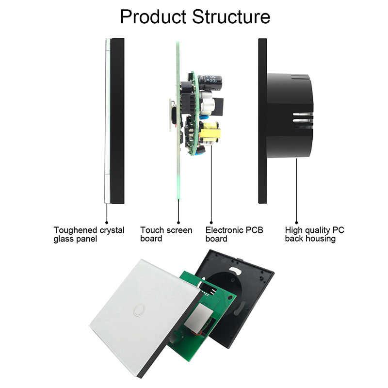 Urijk 1/2 piezas interruptor inteligente 1/2/3/banda de la UE Stanard interruptor blanco Panel de vidrio de cristal 1 pandilla 1 manera interruptor